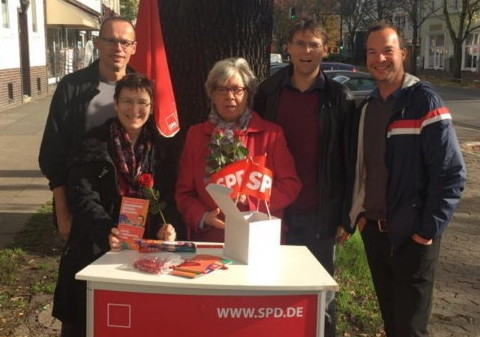 Foto vom Wahlkampf-Endspurt an der Berckhusenstraße