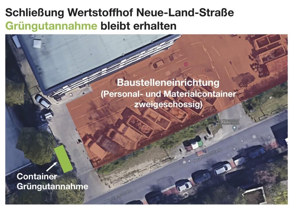 Plan zur künftigen Grüngutannahmestelle am Wertstoffhof Neue-Land-Straße